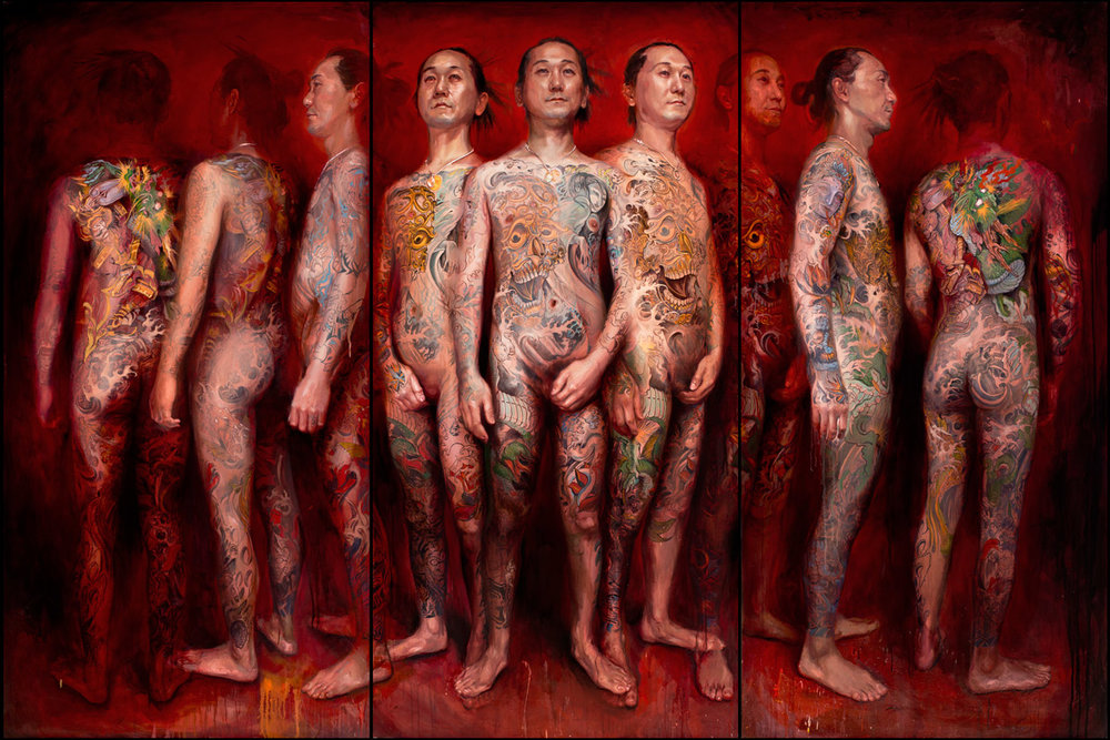 "'Portrait of the Artist, Shige (Shigenori Iwasaki), 9 views', Triptych, oil on canvas, 72"" x 36"", 72"" x 36"", 72"" x 36"", 2010-2012"
