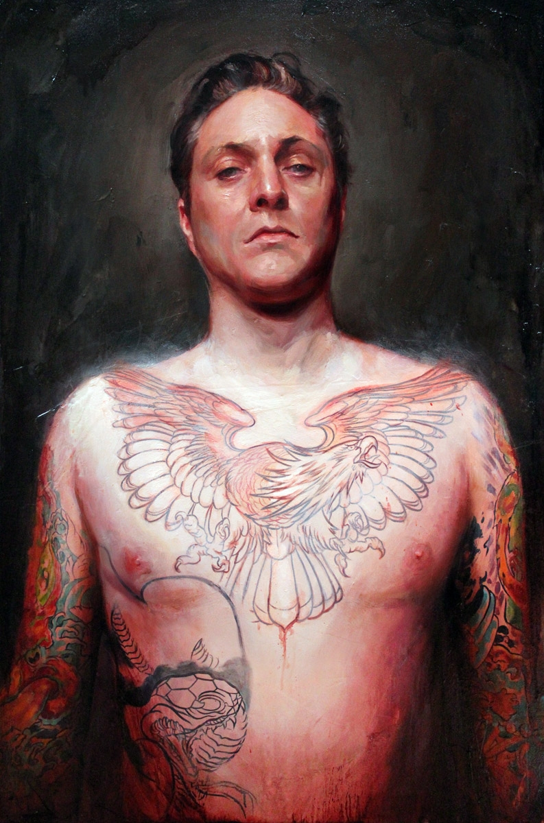 "'Tattooed Self Portrait at 39', oil on canvas, 30"" x 24"", 2010, Personal Collection"