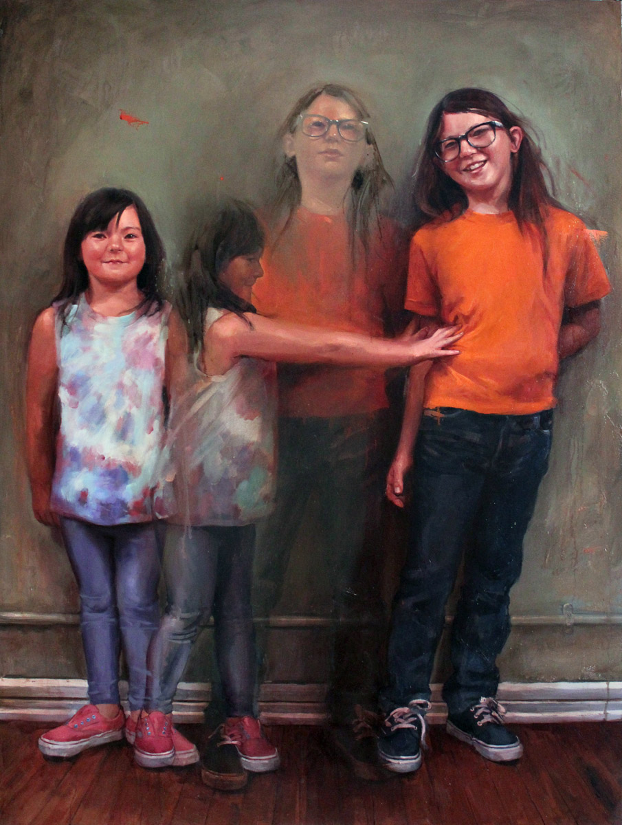 "'Clover and Max Ciferri', oil on linen, 58"" x 42"", 2012-2013, Collection of Seth Ciferri"
