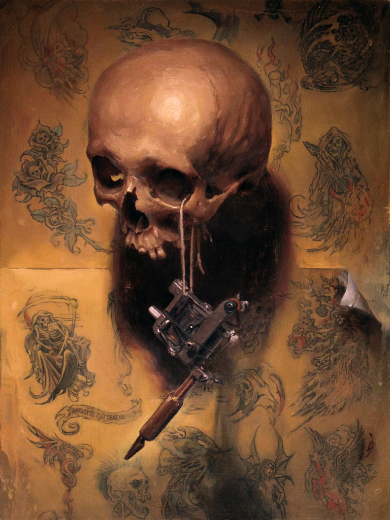 "'Vanitas (Homage to Greg Irons)', oil on panel, 16"" x 12"", 2015"