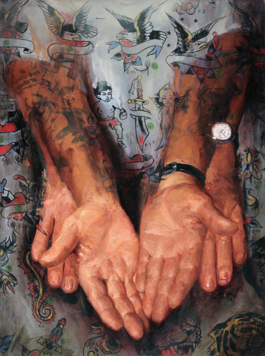 "'Tony D'Anessa's Hands', oil on panel, 16"" x 12"", 2015, Private Collection"