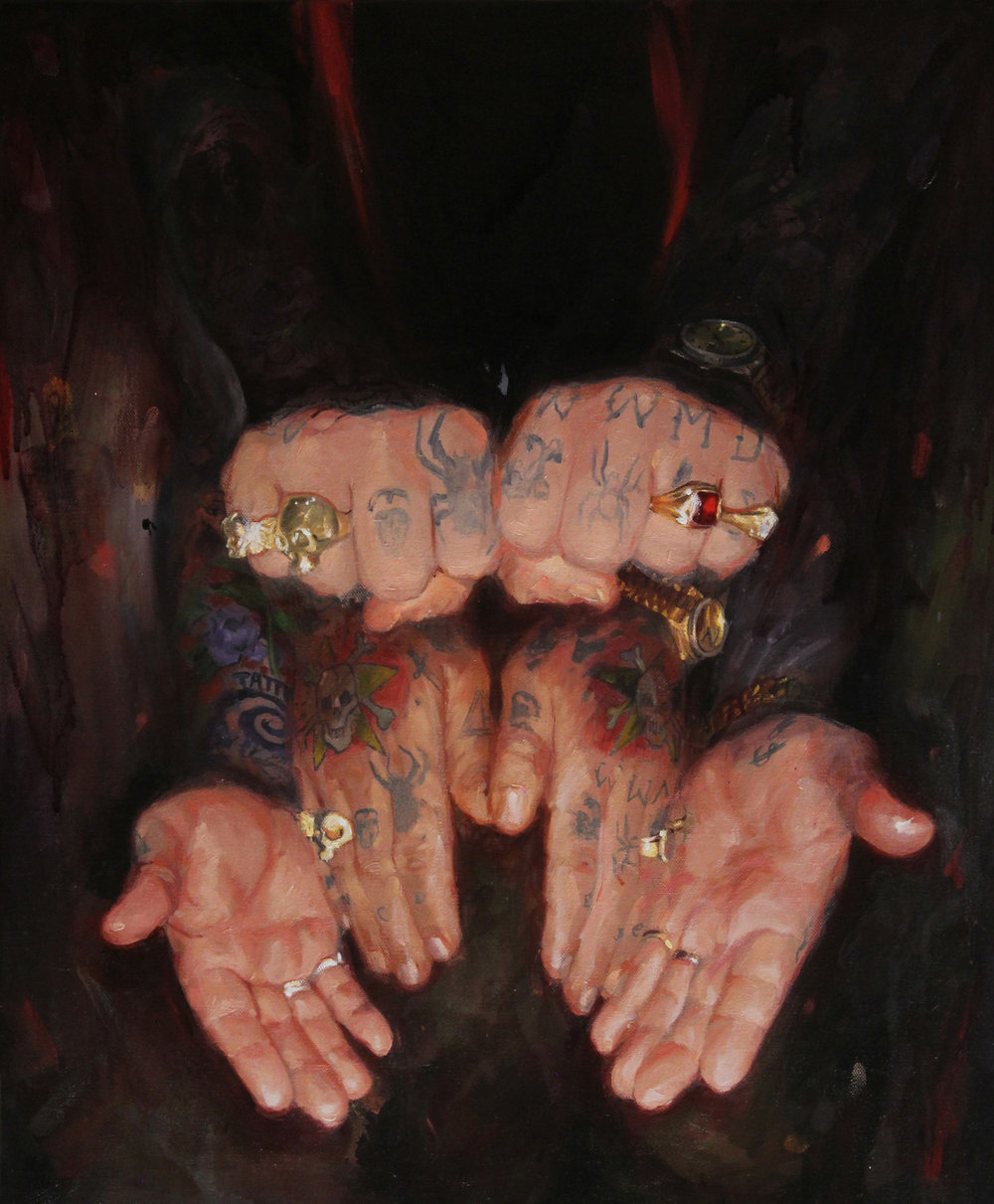 "'Gill Montie's Hand', oil on canvas, 24"" x 20"", 2016"