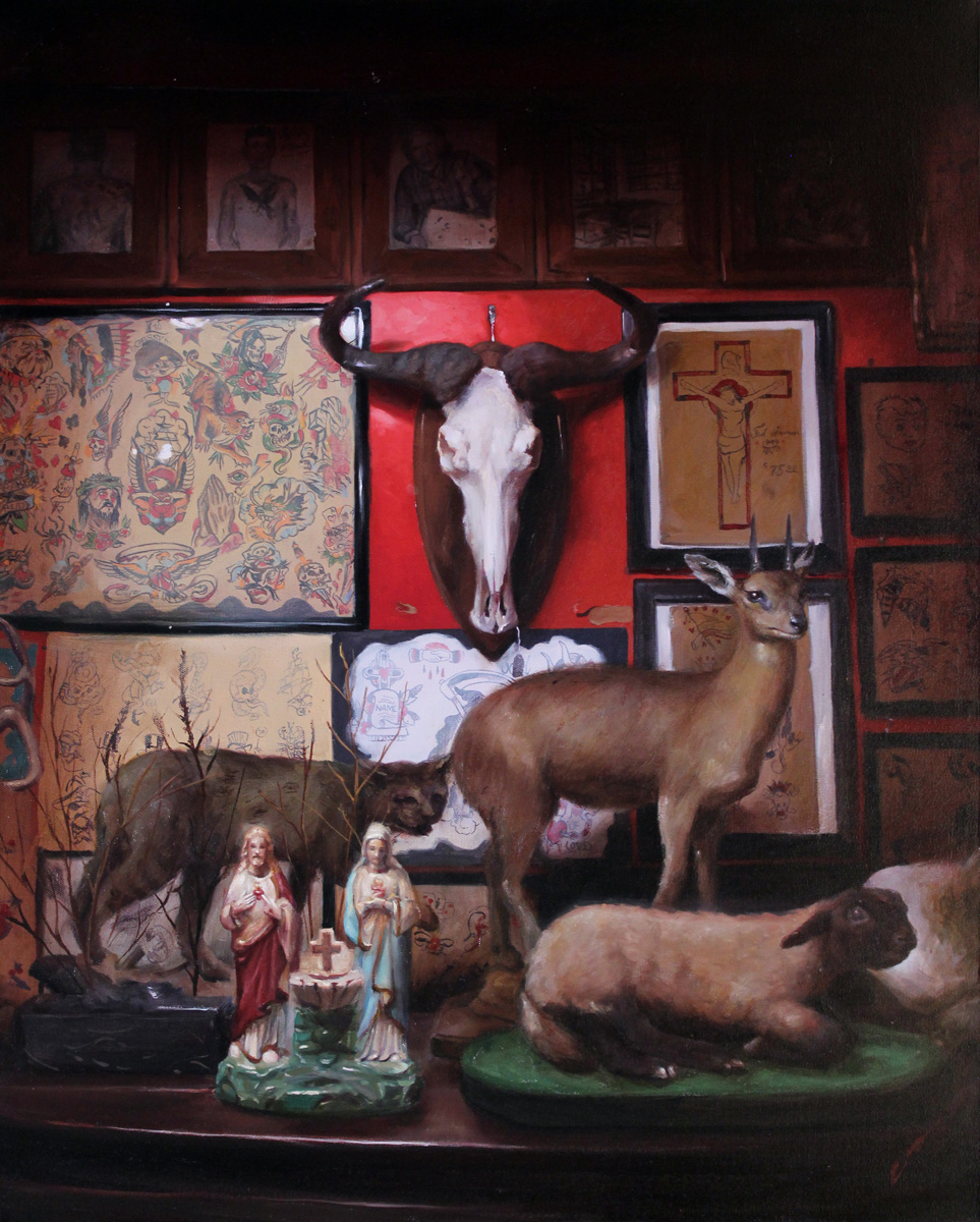 "'Ernie Gosnell's Hideout Museum', 30"" x 24"", oil on canvas, 2014, Collection of Gloria Connors"