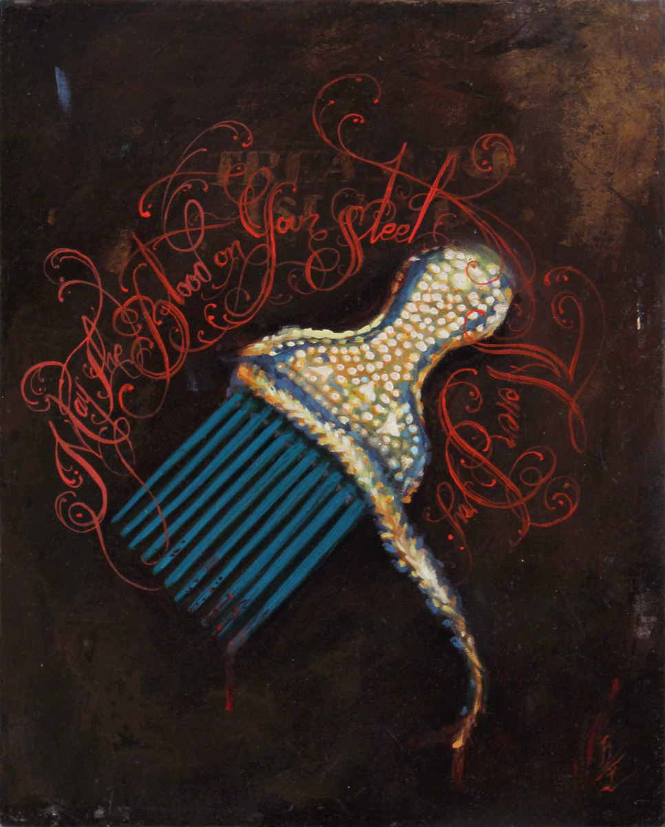 "'Damon Conklin's Afro Pick', (Collaboration with Henry Lewis), oil on panel, 12"" x 9"", 2014, Private Collection"