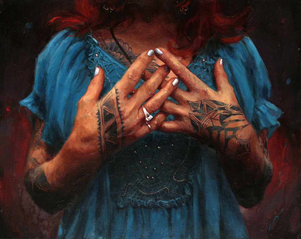 "'Vyvyn Lazonga's Hands', oil on wood, 16"" x 20"", 2014, Collection of Ted Backman"