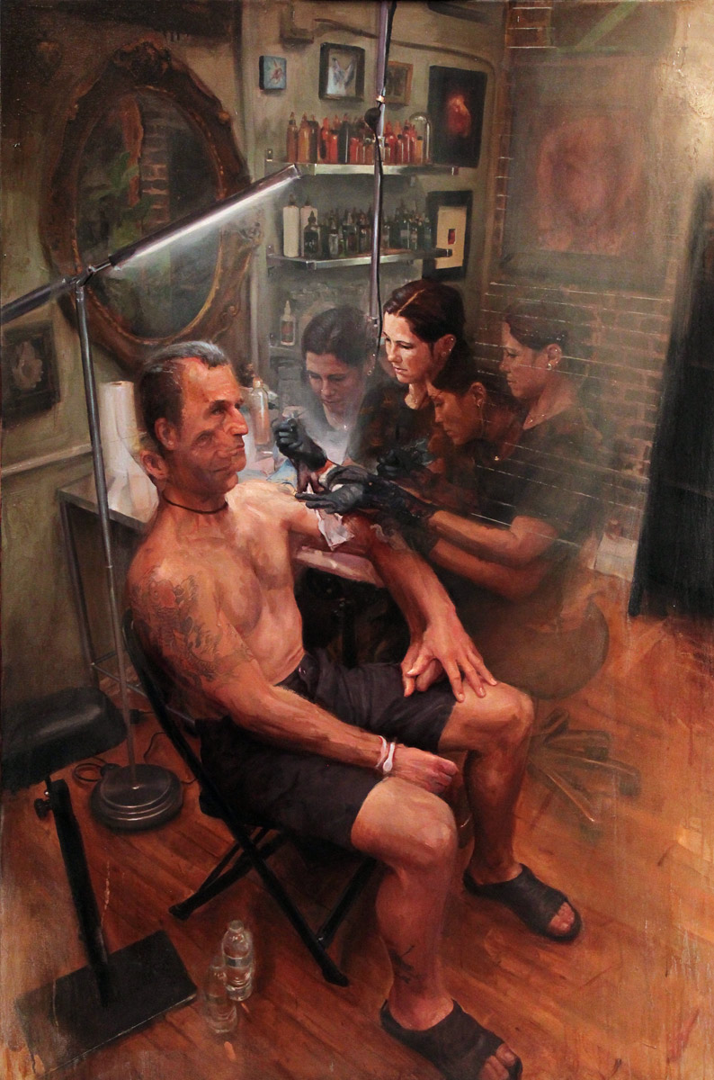 "'Kim Saigh at Work, (Tattooing Jamie Kompon)', oil on canvas, 60"" x 40"", 2014"