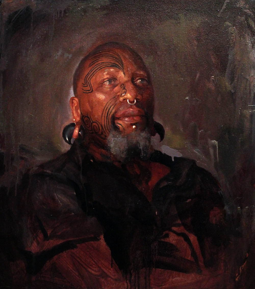 "'Portrait of the Artist, Zulu, Head Study', oil on linen, 20"" x 18"", 2013, Collection of Zulu"