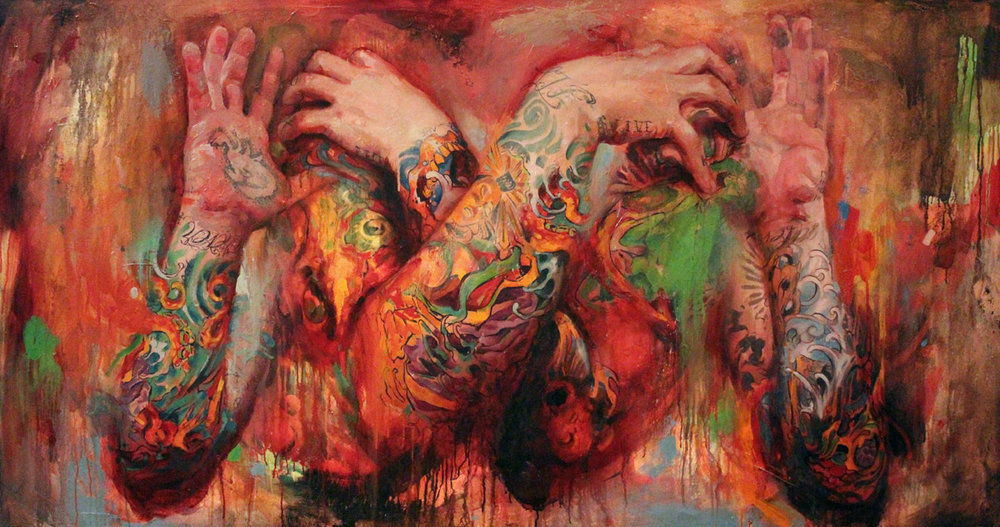 "'Abstract Self Portrait 1', oil on canvas, 36"" x 68"", 2010-2012"