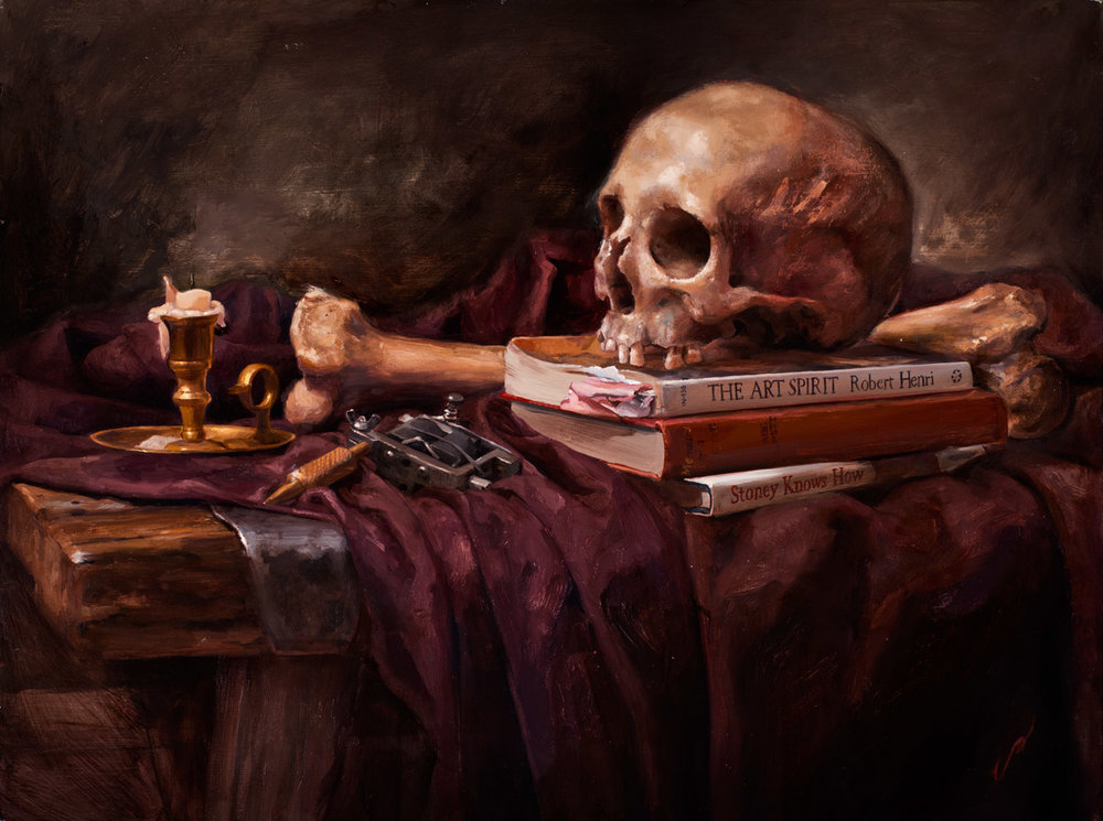 "'Vanitas (after Pieter Claesz)', oil on canvas, 18"" x 24"", 2012, Collection of John Brusger"