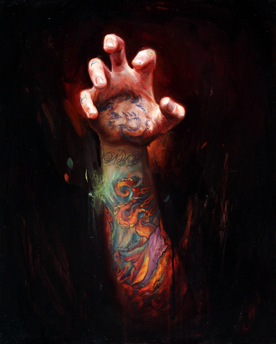 "'Last Gasp, Tattooed Self Portrait Hand Study', oil on panel, 20"" x 16"", 2011, Collection of Lady Gaga"