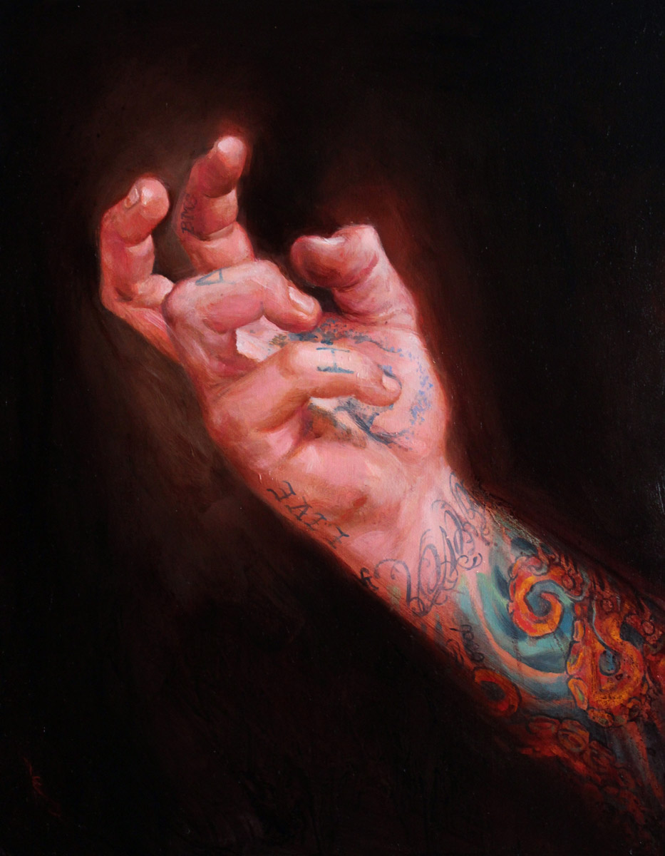 "'Untitled Self Portrait Hand Study, oil on panel, 14"" x 11"", 2011, Private Collection"