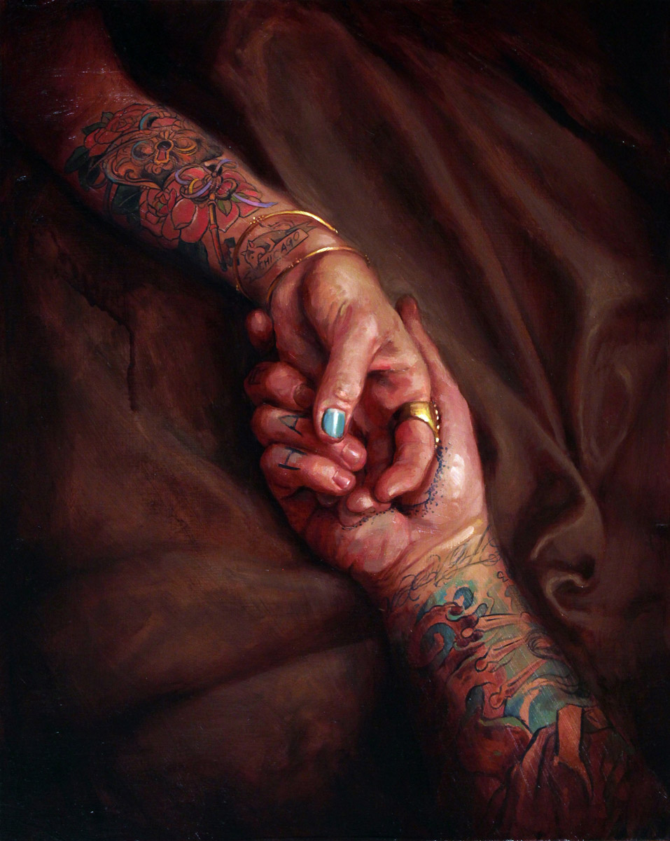 "'Just the two of us (Tattooed Self Portrait with Kim Saigh)', oil on panel, 20"" x 16"", 2012, Personal Collection"