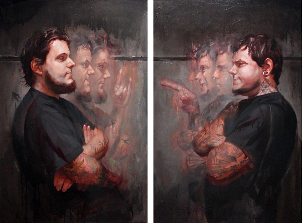 "'Portrait of the Artists, James Kern and Tim Kern', oil on canvas / diptych, 36"" x 24"", 36"" x 24"", 2010, Collection of Carl Niendorff"