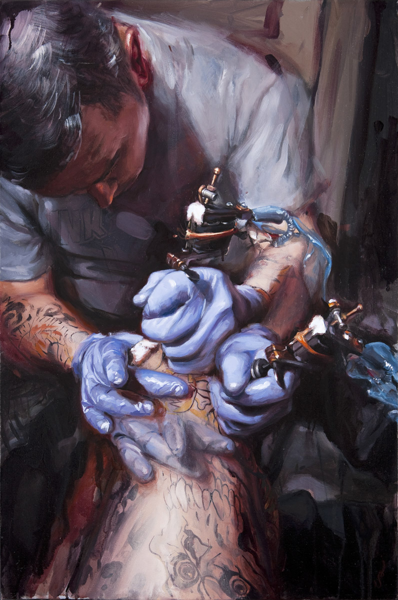 "'Steve Boltz at Work', oil on canvas, 30"" x 20"", 2009"