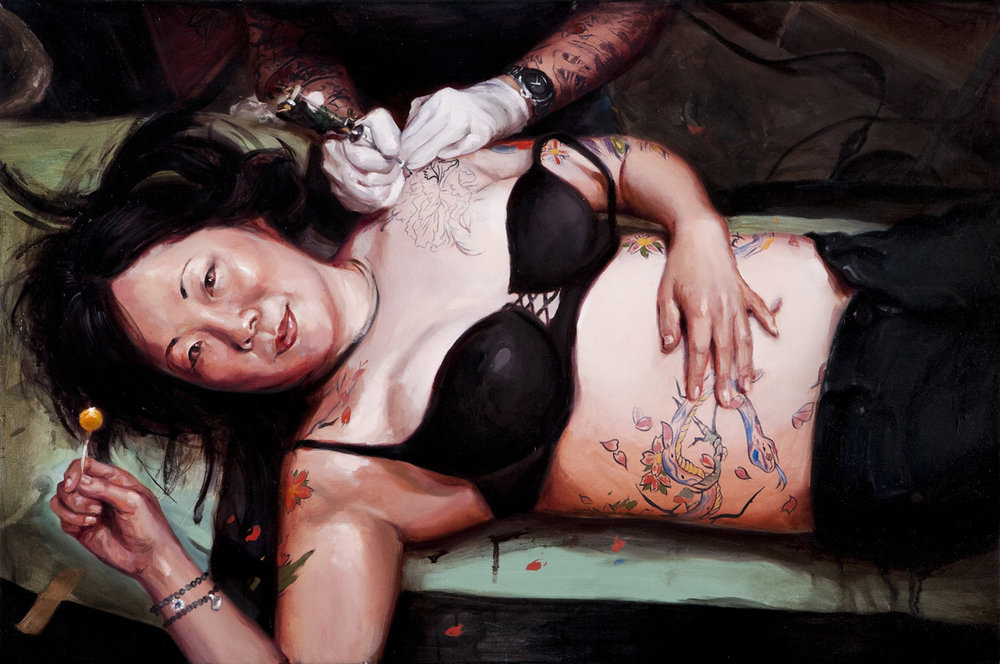 "'Portrait of the Artist, Margaret Cho, (Mike Davis at Work)', oil on canvas, 24"" x 36"", 2009, Collection of Margaret Cho"