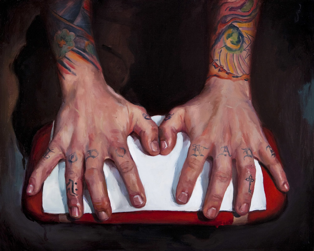 "'Jason Kundell's Hands', oil on panel, 16"" x 20"", 2009, Collection of Jason Kundell"