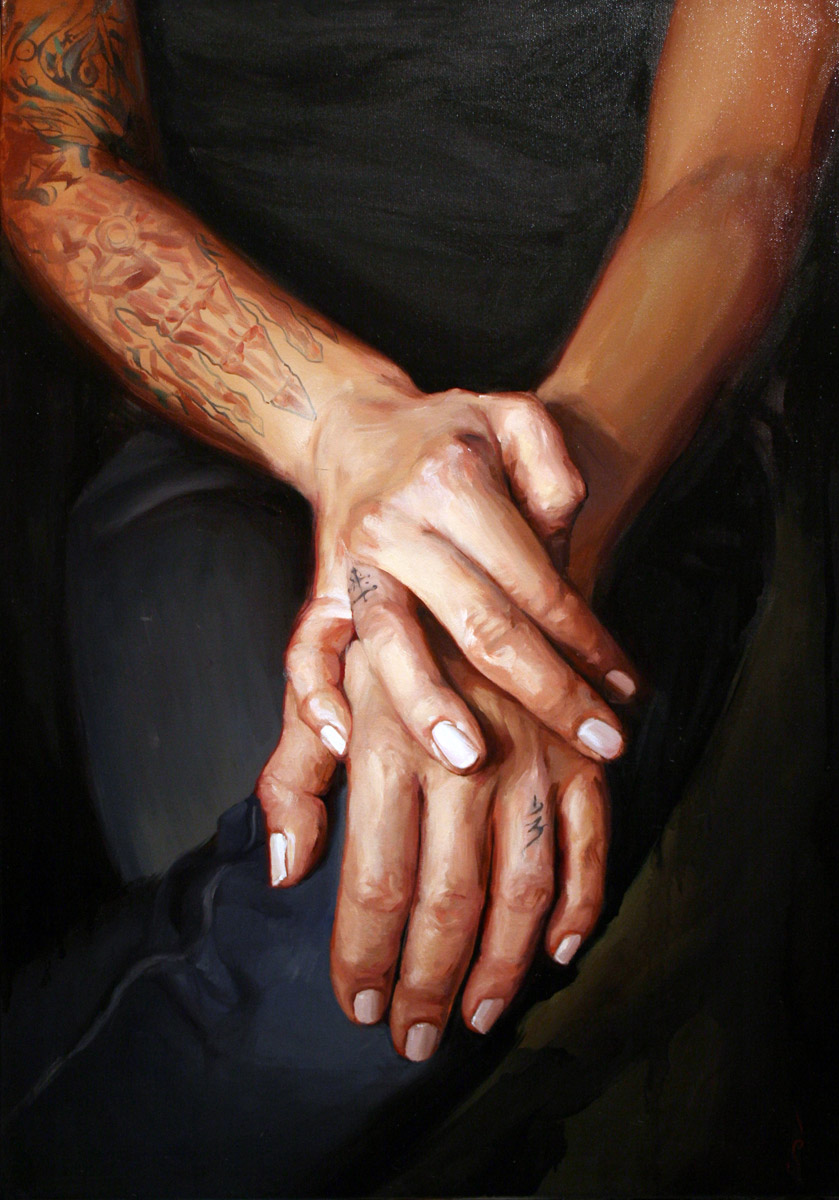 "'Kim Saigh Hands Study 1', oil on canvas, 32"" x 26"", 2008, Collection of Kim Saigh"