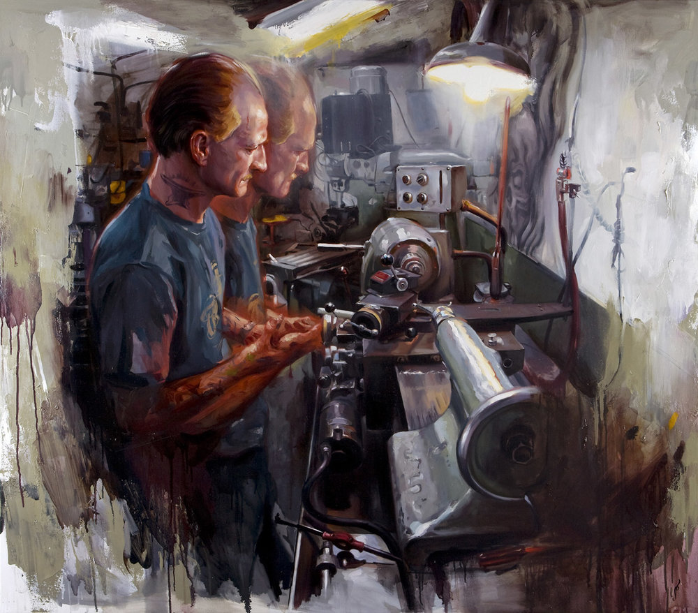 "'Dan Dringenberg at Work', oil on canvas, 56"" x 64"", 2008, Personal Collection"