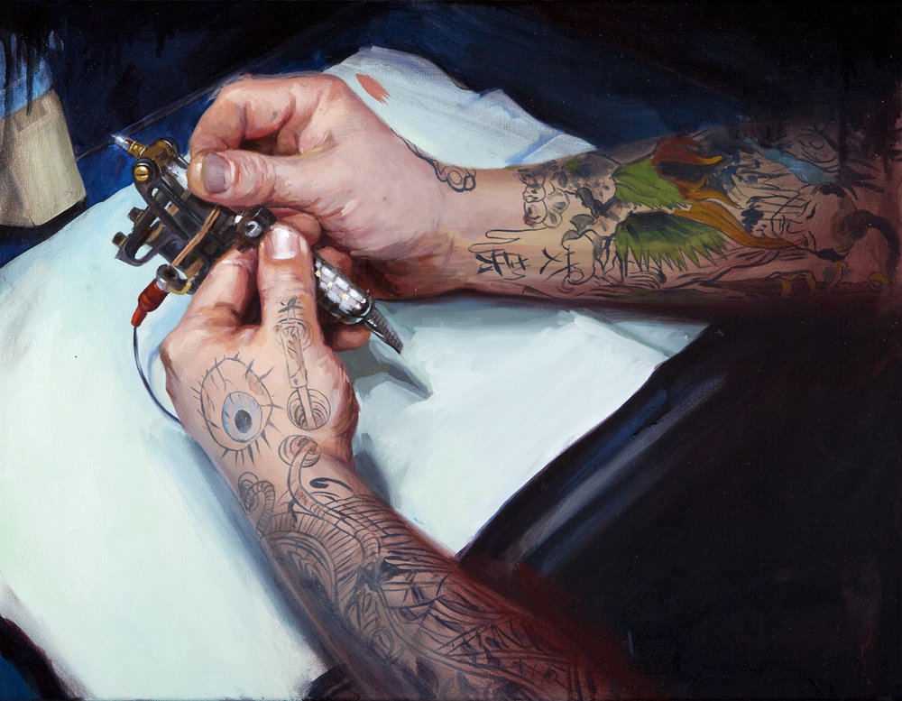 "'Clay Decker's Tattoo Machine', oil on canvas, 20"" x 28"", 2008, Collection of Gloria Connors"