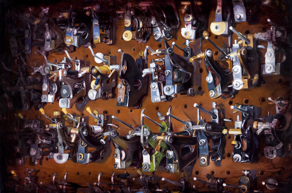 "'Juan Puente's Machine Collection; The Arsenal', oil on canvas, 54"" x 36"", 2008"
