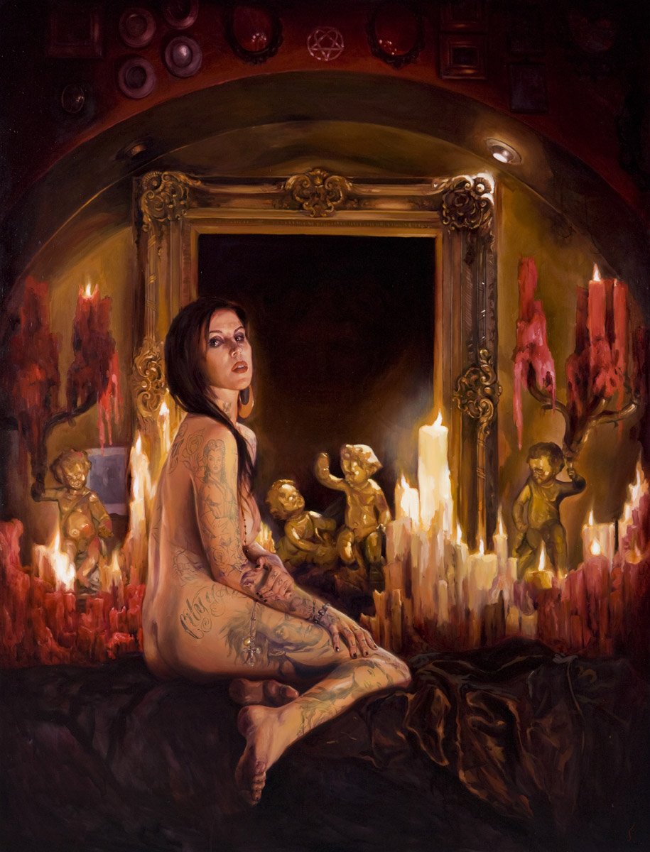 "'Portrait of the Artist, Kat Von D', oil on canvas, 84"" x 68"", 2008, Collection of John Brusger"