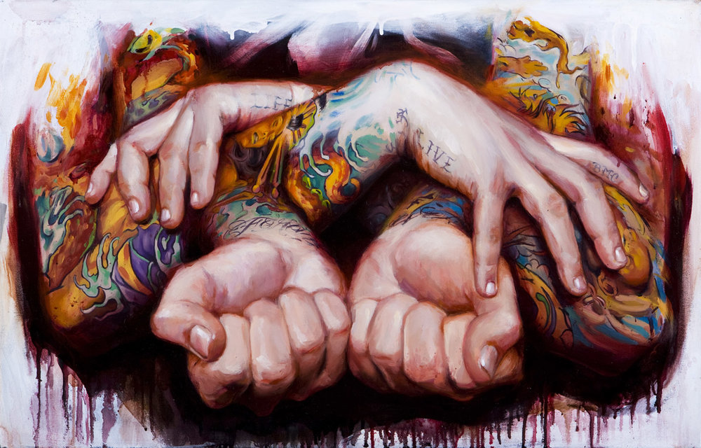 "'Tattooed Self Portrait 4', oil on canvas, 18"" x 28"", 2008, Collection of Joshua Liner"