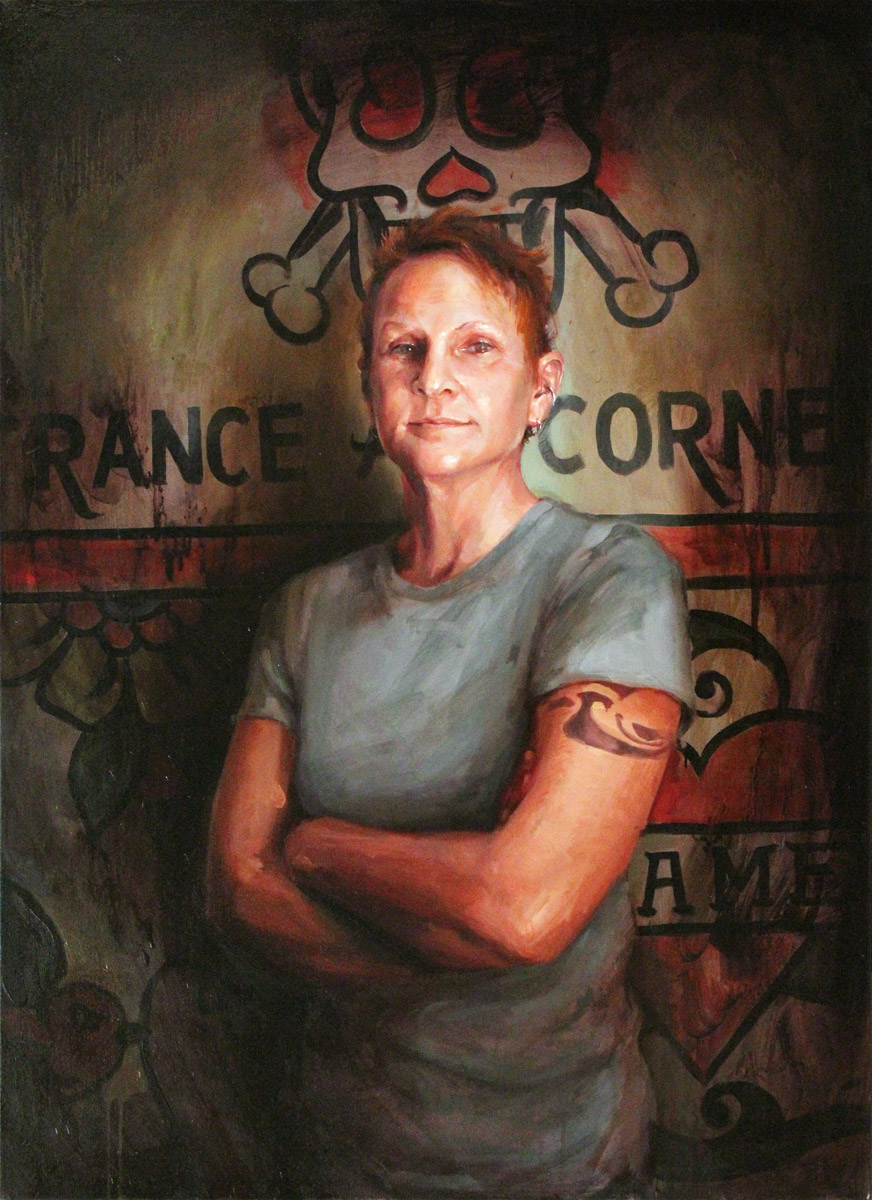 "'Portrait of the Artist, Kari Barba', oil on canvas, 44"" x 32"", 2008, Collection of Aaron and Christine Cain"