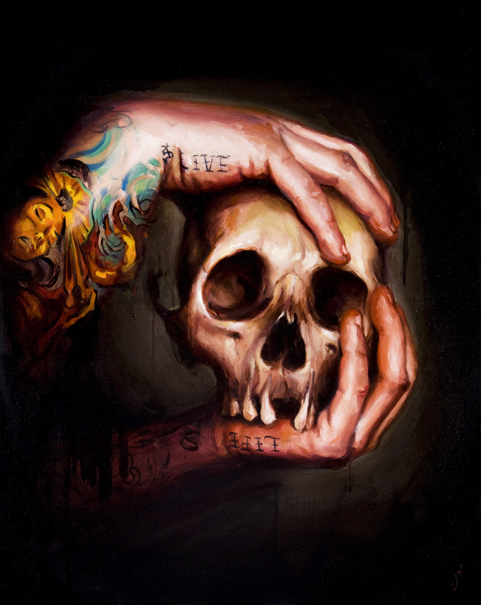 "'Live Life Skull', oil on canvas, 30"" x 24"", 2008, Collection of Phil Holt"