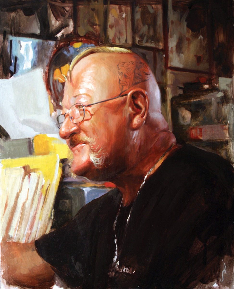 "'Portrait of the Artist, Tennessee Dave James', oil on panel, 20"" x 16"", 2007, Collection of Billy Shire"