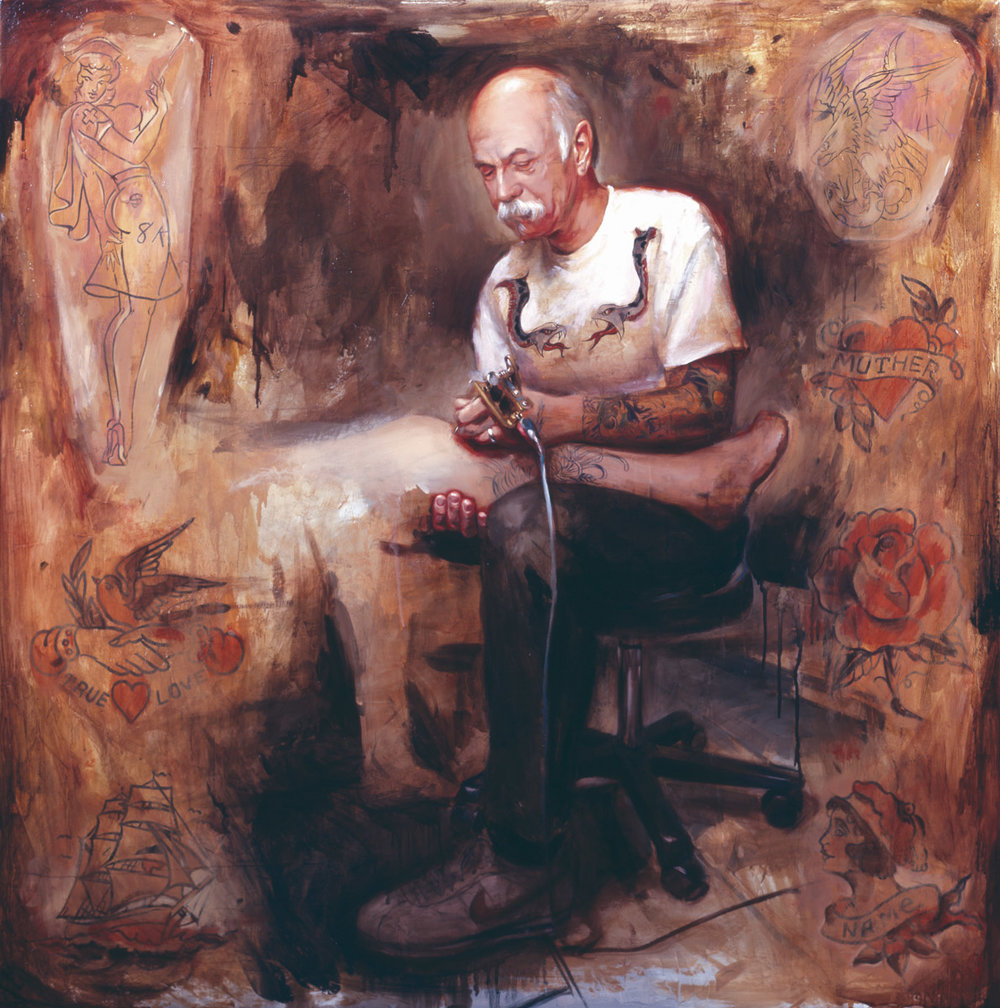 "'Portrait of the Artist, Chuck Eldridge', oil on canvas, 48"" x 48"", 2007, Private Collection"
