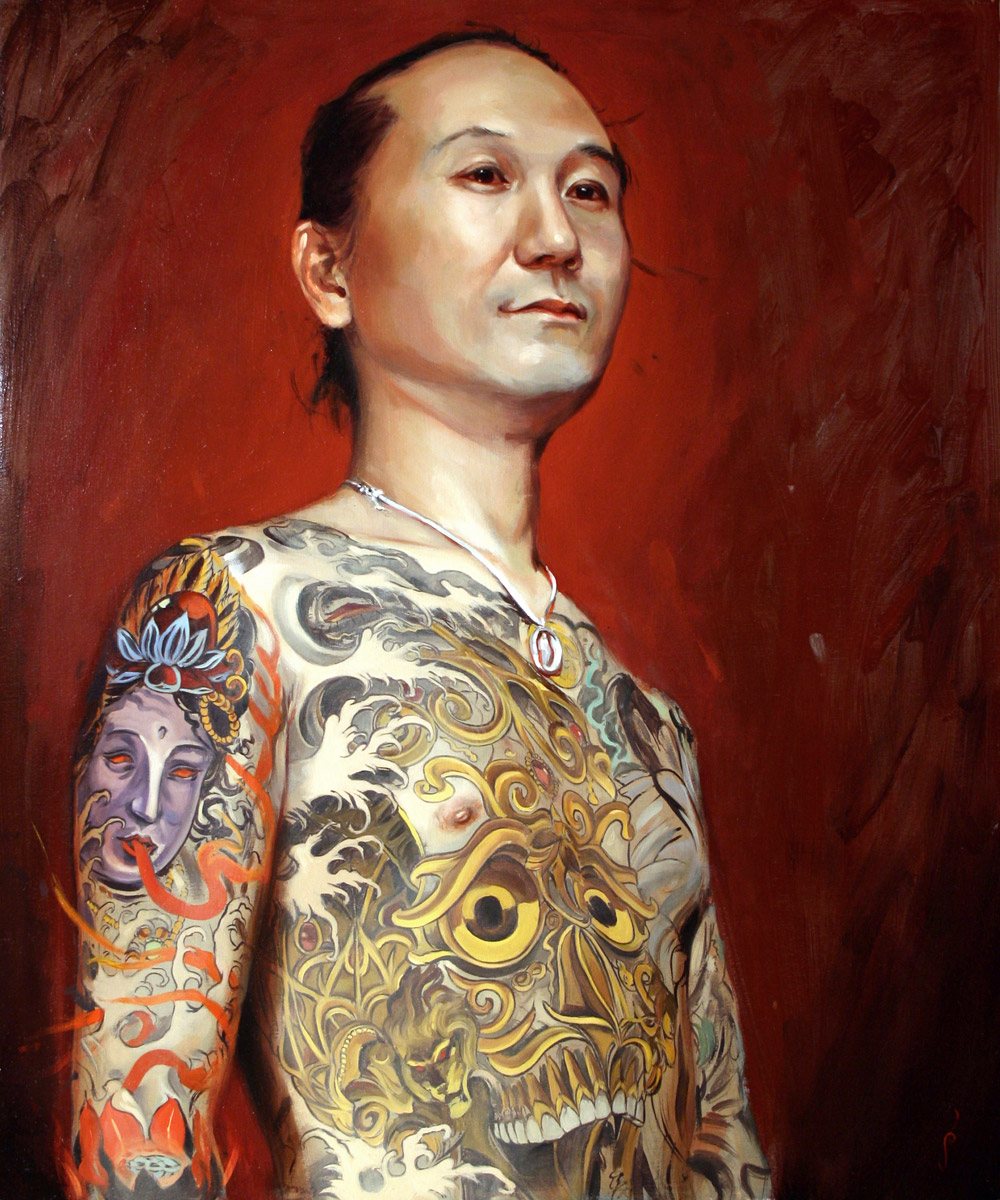 "'Portrait of the Artist, Shige, Head Study', oil on panel, 30"" x 24"", 2007, Private Collection"