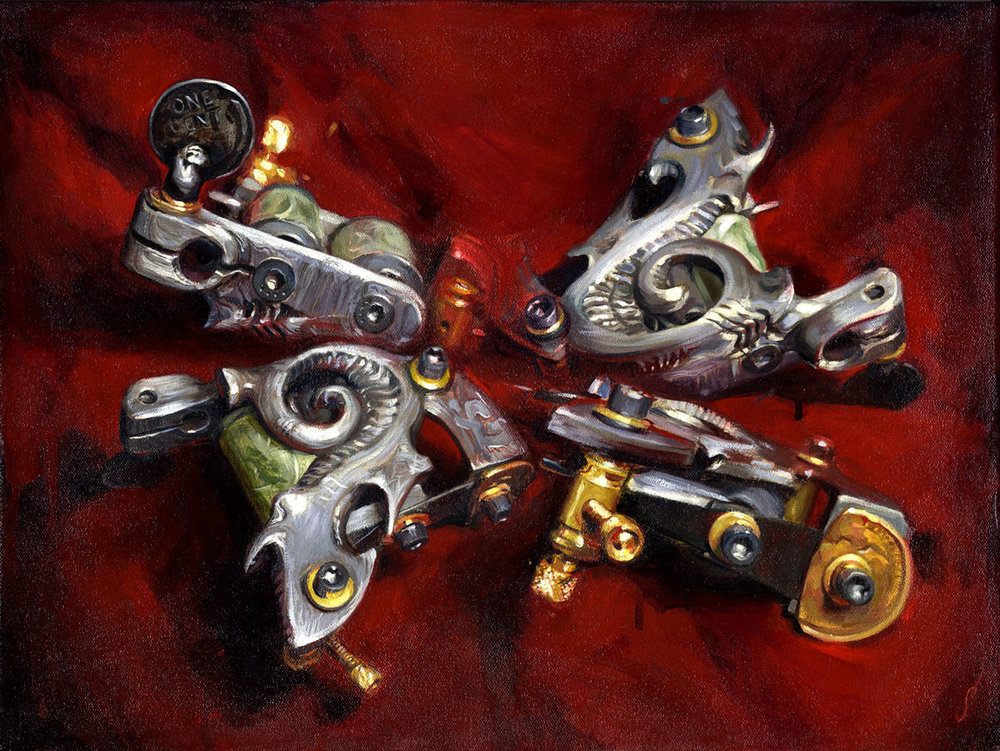 "'Aaron Cain's Damascus Machine', oil on canvas, 15"" x 20"", 2006, Collection of Aaron and Christine Cain"