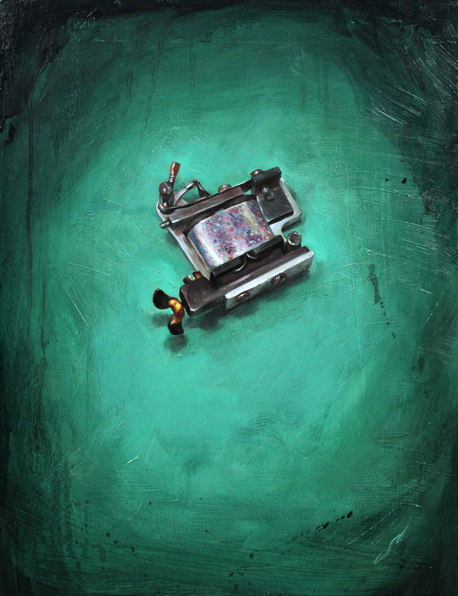"'Paul Rogers' Screen Door Machine', oil on panel, 14"" x 11"", 2012, Collection of Josh Duffy"