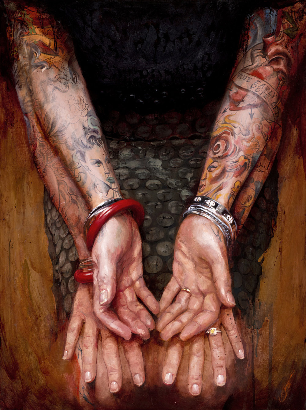 "'Portrait of the Artist, Hannah Aitchison, Hands Study1', oil on wood, 24"" x 18"", 2012, Collection of Hannah Aitchison"