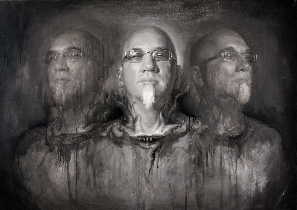 "'Portrait of the Artist, Bob Tyrrell (Triple Head Study)', oil on canvas, 24"" x 34"", 2010, Collection of Bob Tyrrell"