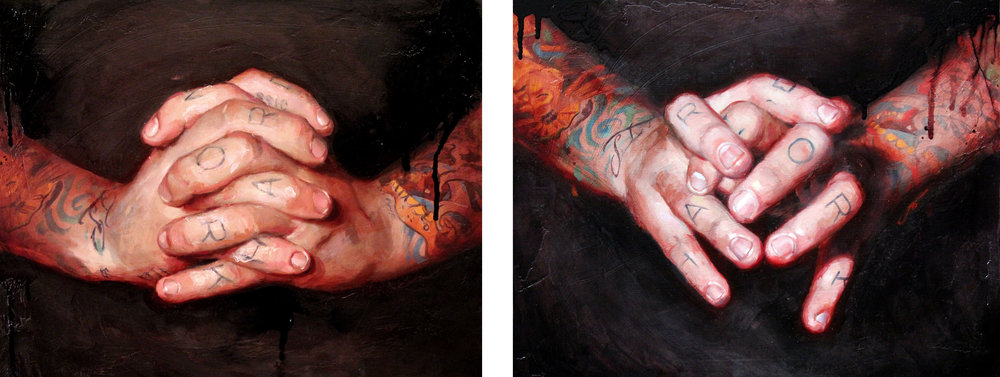 "'Self Portrait, Hand Series 3', oil on panel, 11"" x 14"", Private Collection / 'Self Portrait, Hand Series 2', oil on panel, 11"" x 14"", Collection of Katerina Perdue / 2010"