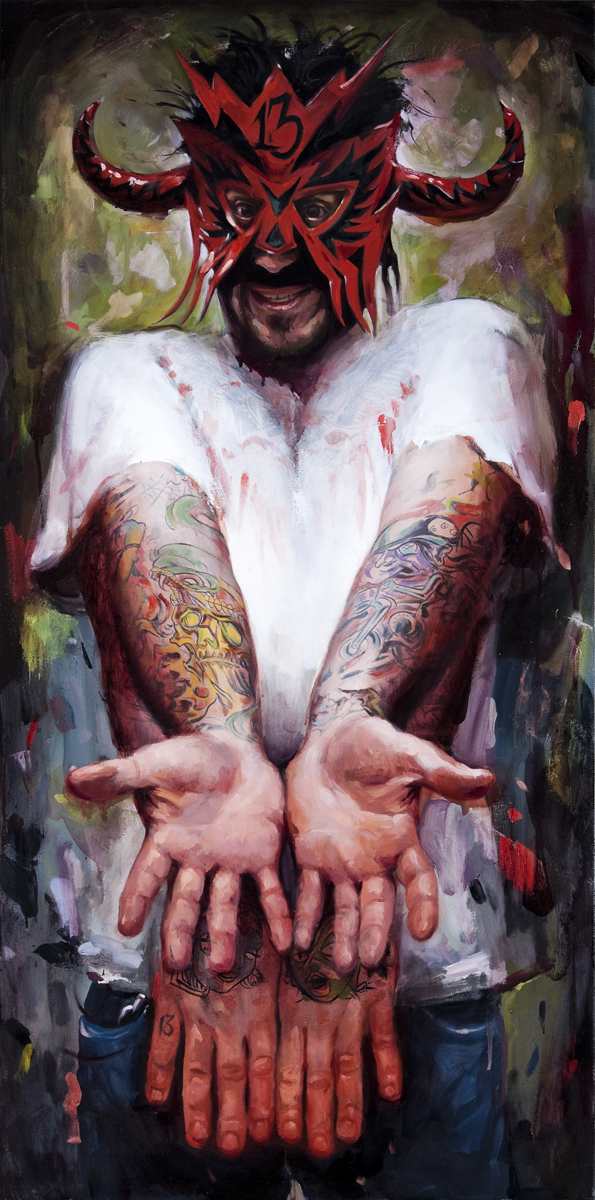 "'Portrait of the Artist, Dave Fox', oil on canvas, 48"" x 24"", 2009, Collection of Robert Lindgren"