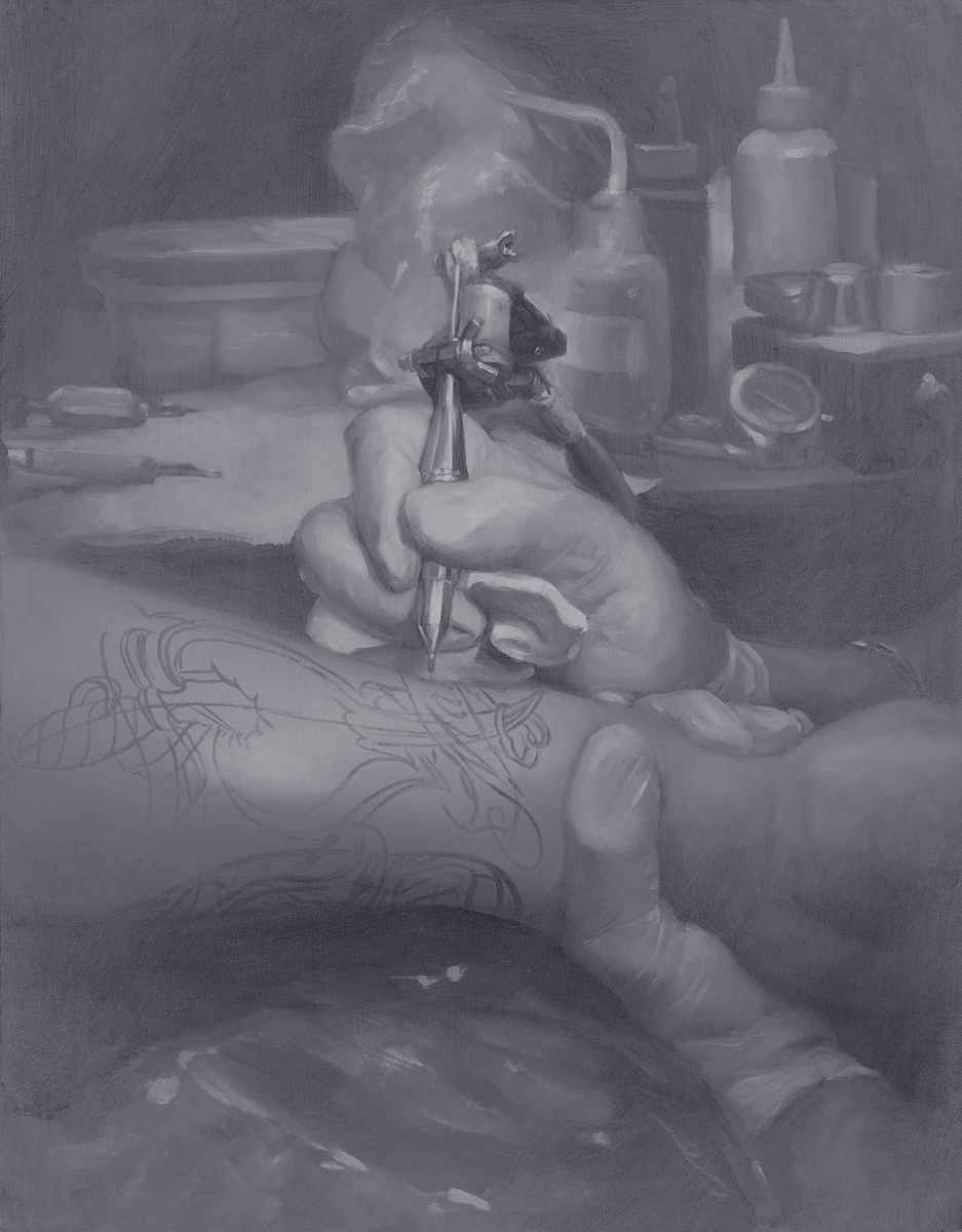 "'Jack Rudy at Work', oil on panel, 14"" x 11"", 2009, Private Collection"