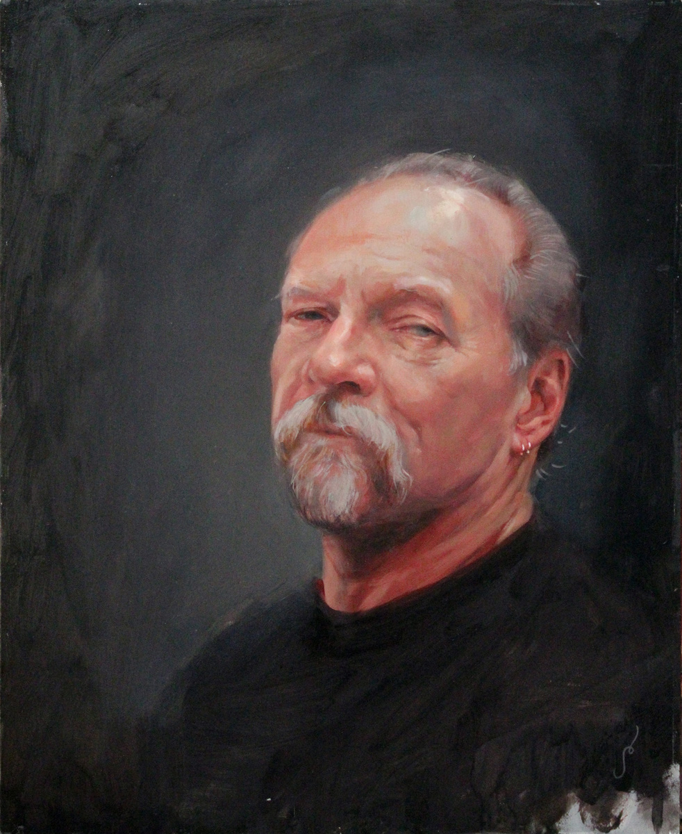 "'Portrait of the Artist, Jack Rudy (Head Study)', oil on panel, 20"" x 16"", 2009, Collection of Seth Ciferri"