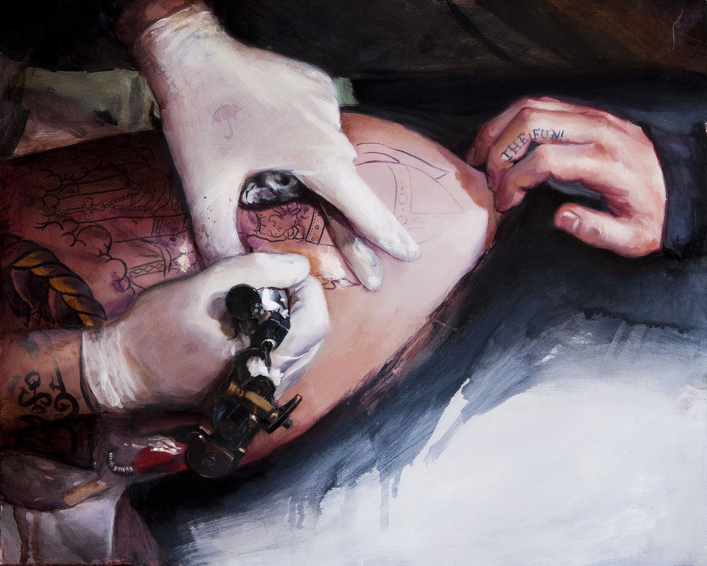 "'The Fun, Mike Davis Tattooing Doug Hansen', oil on panel, 16"" x 20"", 2009, Collection of Bryan Bancroft"