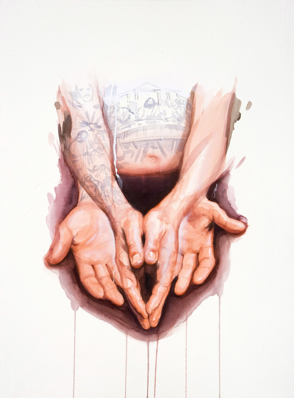 "'Danny Romo Hands Study', watercolor and gouache on 300lb. Fabriano paper, 30"" x 22"", 2008, Private Collection"