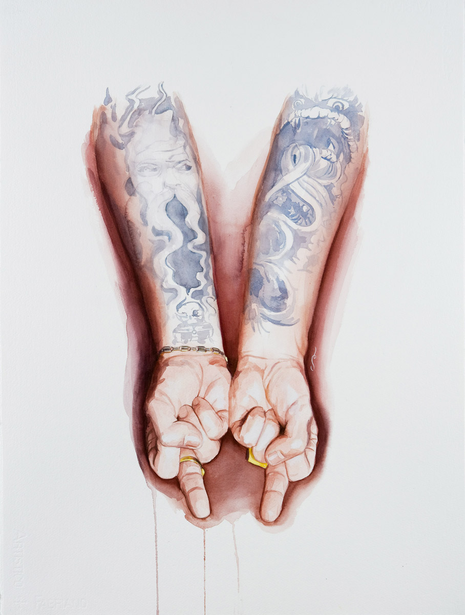 "'Jack Rudy Hands Study', watercolor and gouache on 300lb. Fabriano paper, 30"" x 22"", 2008, Private Collection"
