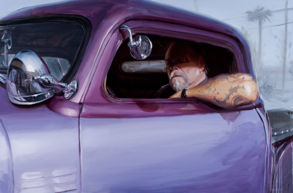 "'Portrait of the Artist, Jack Rudy and his '32', oil on canvas, 36"" x 54"", 2008, Collection of Dennis and Annette Barber"