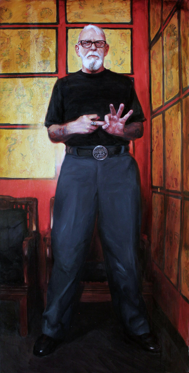 "'Portrait of the Artist, Bob Roberts', oil on canvas, 72"" x 36"", 2008"