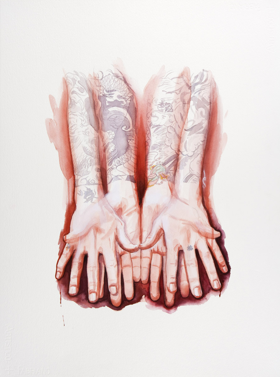 "'Small Paul Hands Study', watercolor and gouache on 300lb. Fabriano paper, 30"" x 22"", 2008, Private Collection"