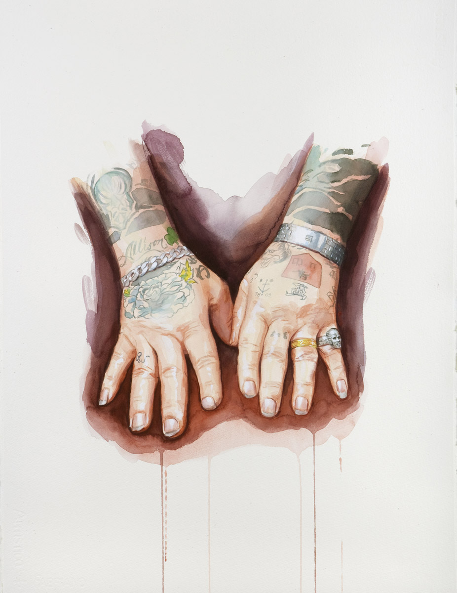 "'Rick Walters Hands Study', watercolor and gouache on 300lb. Fabriano paper, 30"" x 22"", 2008"