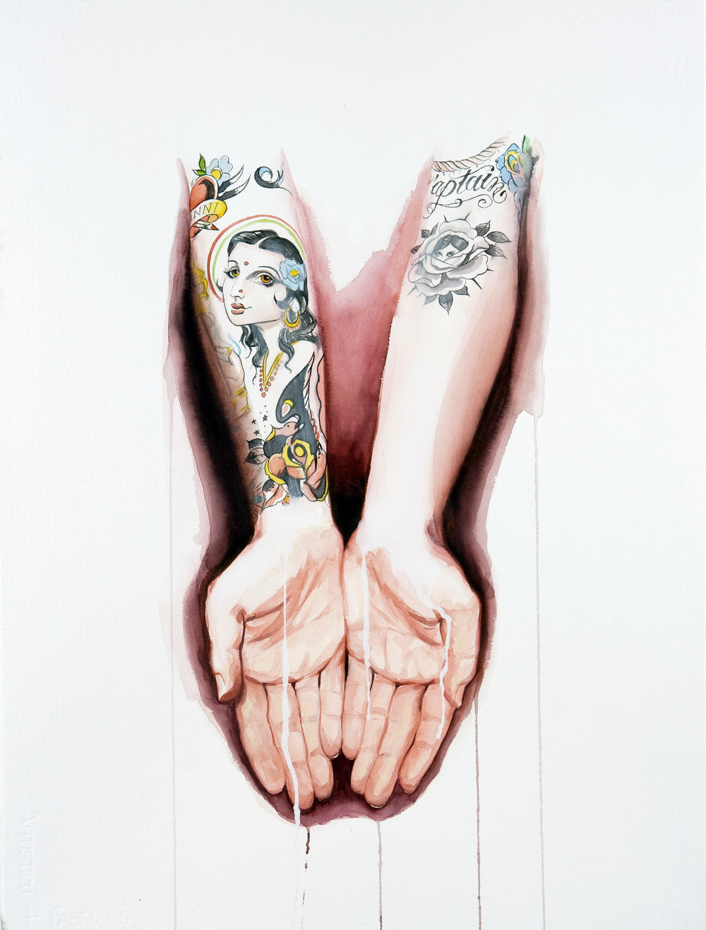"'Marco Ceretelli Hands Study', watercolor and gouache on 300lb. Fabriano paper, 30"" x 22"", 2008, Private Collection"