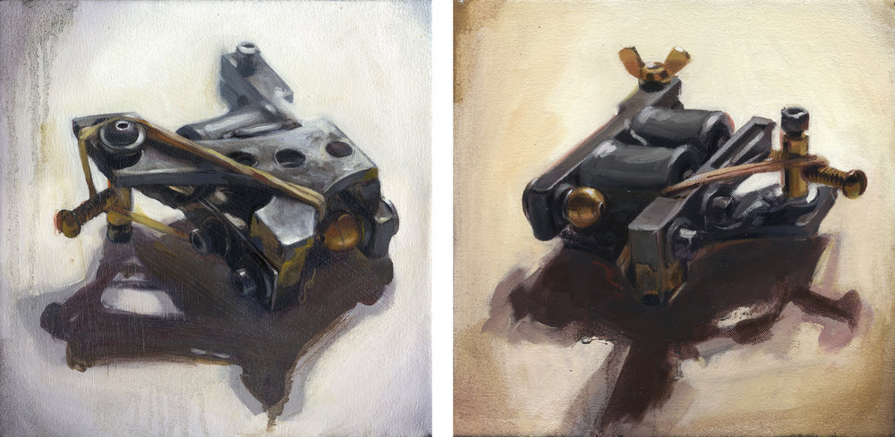 "'My First Machine, Schrobritter Liner (Top View)' / 'My First MachineSchrobritter Liner (Coil Side)' /  Both oil on canvas, 10"" x 10"", 2005, Collection of Jason Schroder"
