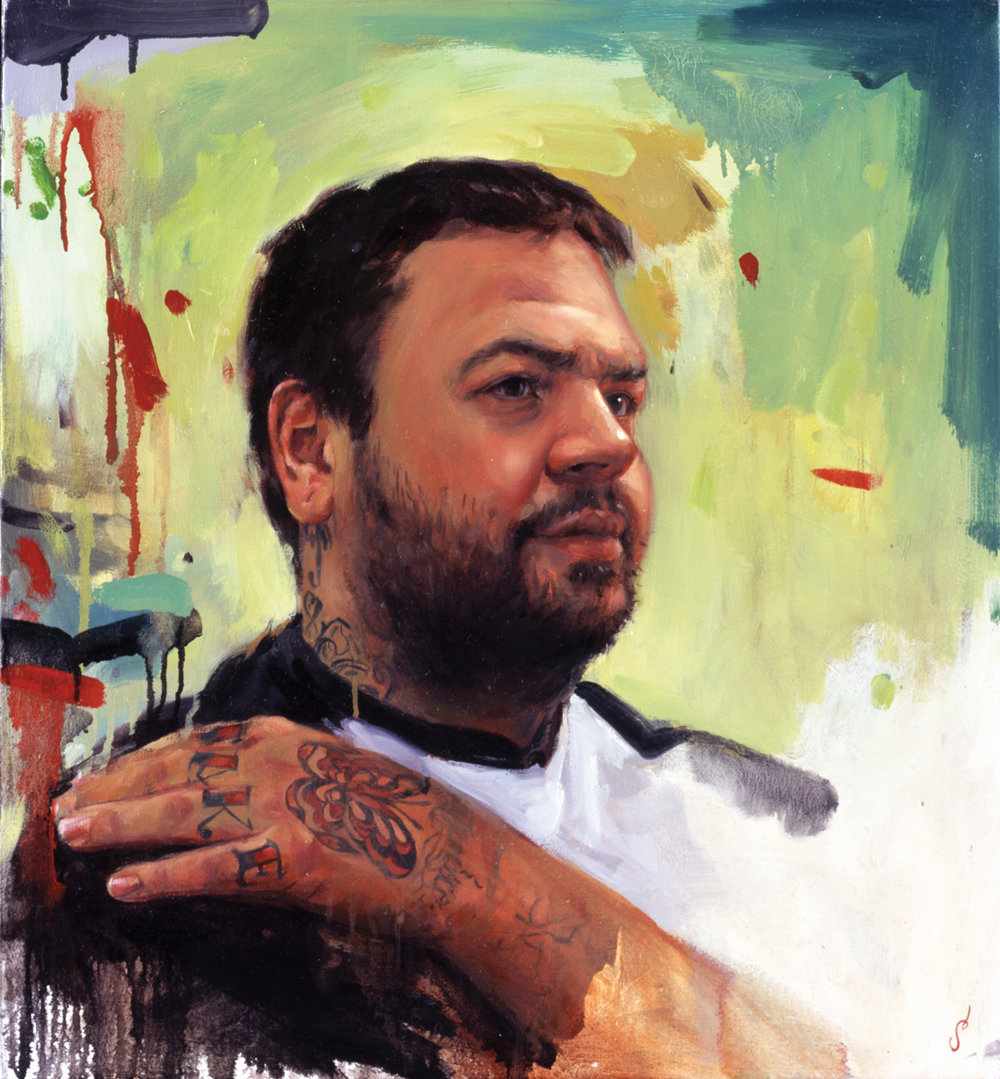 "'Portrait of the Artist, Greg Rojas, Head Study', oil on canvas, 30"" x 24"", 2005, Private Collection"