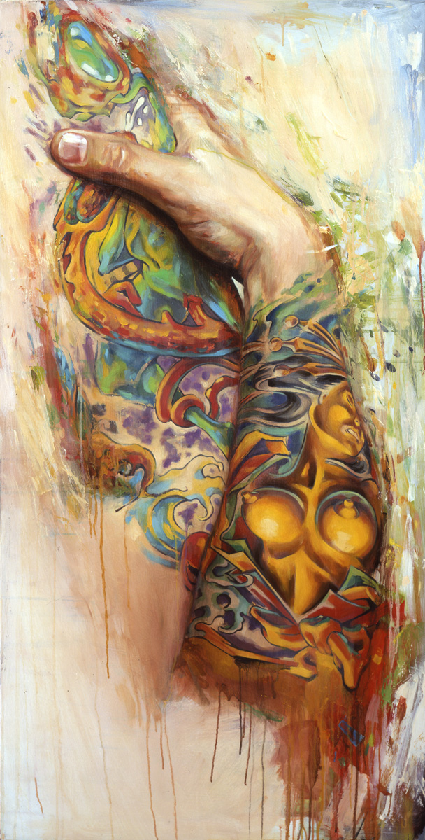 "'Tattooed Self Portrait 1', oil on wood, 48"" x 24"", 2005, Private Collection"